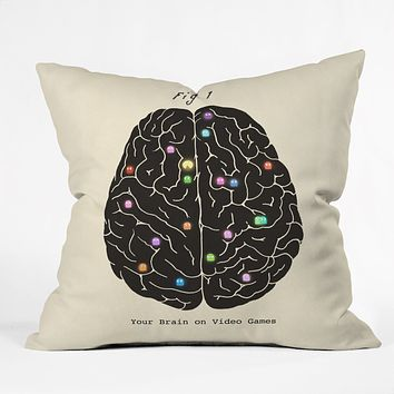 Terry Fan Your Brain On Video Games Throw Pillow