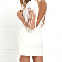 Sway the Word Ivory Backless Fringe Dress