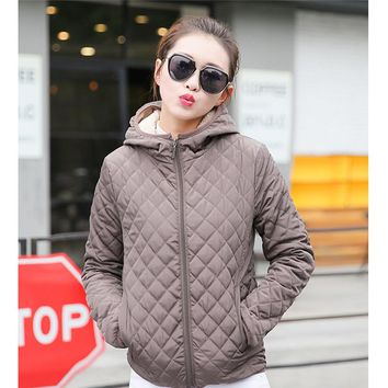 Winter Fashion Zipper Coat Women  Hooded Cotton Plaid Parka Jacket Women Warm Slim Down Jacket Outerwear KH825447