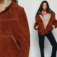 HOODED Leather Jacket Brown Suede Coat 70s Leather Hoodie SHERPA Shearling Bomber 1970s Boho Hood Bohemian Vintage Hipster Brown Large