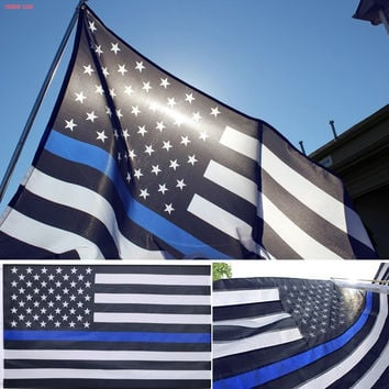3 x 5 Ft Foot Thin Blue Line USA Flag (pole is NOT included )