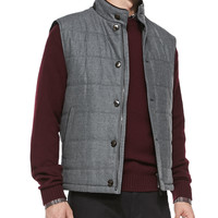 Shearling Fur-Trimmed Quilted Vest, Wool Crewneck Sweater, Plaid Woven Casual Shirt & Cotton/Cashmere Denim Jeans