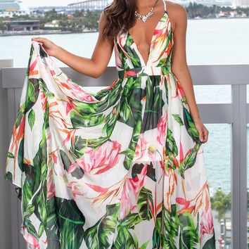 White and Green Floral Maxi Dress