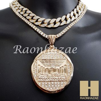 "Hip Hop Iced Out Last Supper Pendant 16"" Iced Out Choker 18"" Tennis Chain 14"