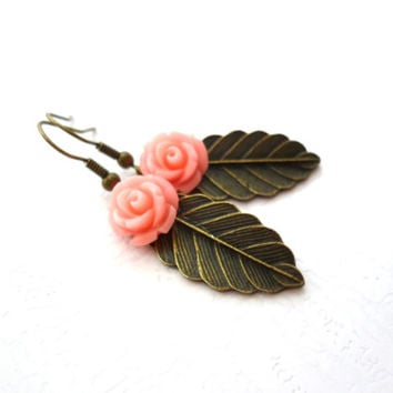 Pink Coral Flower & Leaf Earrings Bronze Leaves, Coral Roses, Leafy Bridal Jewelry, Botanical, Woodland Wedding, Nature Inspired Weddings