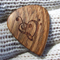 Wood Guitar Pick - Handmade Custom Engraved Exotic Wood Guitar Pick - Jatoba