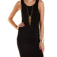 Black Ruched Bodycon Dress by Charlotte Russe
