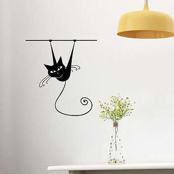 Cartoon Cat Removable PVC Wall Stickers - Plane Wall Stickers Transportation / Landscape Study Room / Office / Dining Room / Kitchen