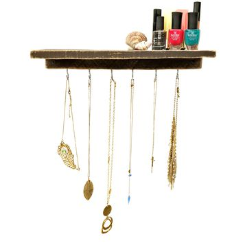 Reclaimed Wood Floating Shelf + Necklace Holder - Dark