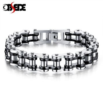 OBSEDE Punk Men Bracelet Biker Bicycle Motorcycle Chain Men's Bangles 316L Titanium Stainless Steel Jewelry Fashion Gifts Rock