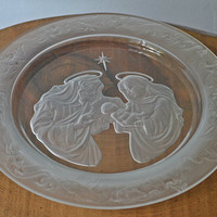Art Glass Plate, Holy Family, Morgantown Crystal Collector's Plate