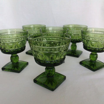Avocado Green Sherbet Dishes Set of 6 Indiana Glass