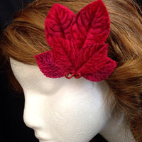 Red velvet leaf fascinator hair clip