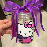 Hello Kitty Plastic Mason Jar or Wine Glass Hand Painted