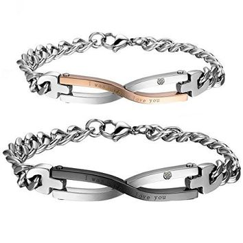 Cupimatch 2PCS Stainless Steel Matching Love Couples Bangle Bracelets Link Chain Gift Infinity