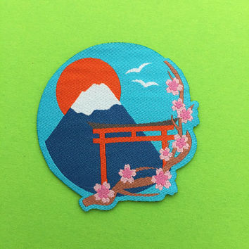 Japan Mount Fuji Cherry Blossom Iron On Patch