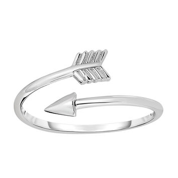 Sterling Silver With Rhodium Finish Open Bypass Arrow Ring