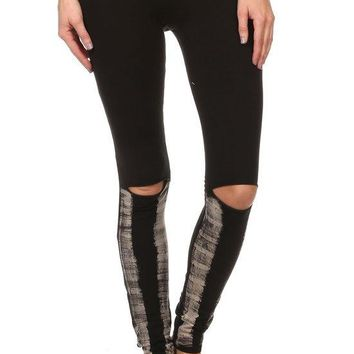Burnout/Solid Banded Full Length Leggings with Slashed Knees