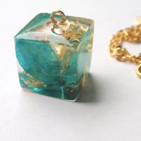 Cube Resin Pendant Necklace - Real Pressed Flower Encased in Resin,  Botanical Pendant, Resin Necklace, Reiki charged