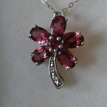 Rhodolite Garnet Necklace, Raspberry Garnet & Diamond Pendant, Rhodolite Garnet And Diamond Flower Pendant, Sterling Silver, Christmas Gift