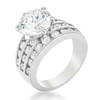 Patina Classic Round Cut Solitaire Engagement Ring | 7.5ct | Cubic Zirconia