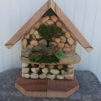 Stone Wooden Birdhouse Rustic Decorative Rock Handcrafted Woodland Accent Office Decor & Housewarming Cottage Style ApronStringsOwlLady