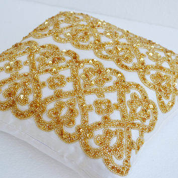 White geometric throw pillows beaded  detail - Gold bead pillow - Silk pillow - Cushion cover zipper - Gift pillow 16X16- White gold pillow