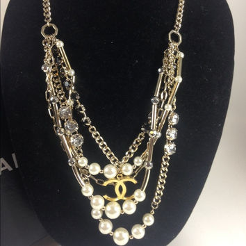 Long Gold And Pearl Necklace W Chanel Charm (Handmade)