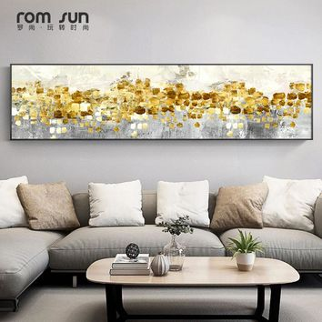 Abstract Golden Tree Rain Flowing Coins Long Banner Canvas Paintings Posters And Print For Living Room Wall Art Mural Home Decor