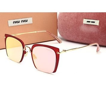 Miu Miu Popular Women Cute Sun Shades Eyeglasses Glasses Sunglasses Pink/Red Frame I12777-1