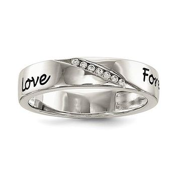 925 Sterling Silver CZ Love Forever Ring