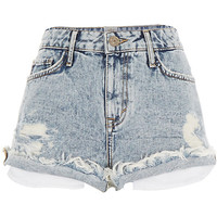 River Island Womens Light acid wash distressed Ruby denim shorts