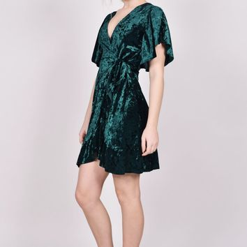 Courtney Velvet Wrap Dress - Hunter Green