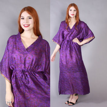 Vintage 70s SILK CAFTAN / 1970s Draped Metallic Abstract Print Purple Bohemian Maxi DRESS