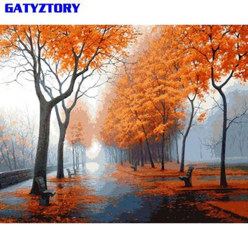 GATYZTORY Forest Landscape DIY Painting By Numbers Picture Wall Art Canvas Painting Unique Gift For Living Room Artwork 40x50cm
