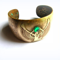 Oxidized Solid brass Egyptian style cuff bracelet, Wings of Isis