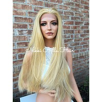 Strawberry Honey Straight Human Hair Blend Lace Wig 24""