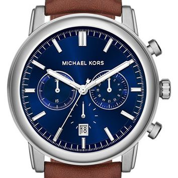 Michael Kors 'Pennant' Chronograph Leather Strap Watch, 43mm - Dark Brown/ Blue/ Silver (Nordstrom Exclusive)