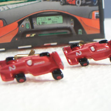 Red Indy Car Cufflinks, Red Indy Car Cuff Links, red Indy Car #2 cufflinks