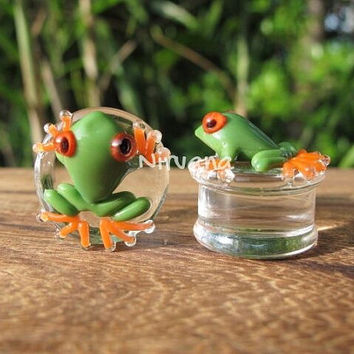 "Green Poison Tree Frog with Orange Legs Glass Plugs 00g 7/16"" 1/2"" 9/16"" 5/8"" 3/4"" 1"" 9.5 mm 10 mm 12 mm 14 mm 16 mm 18 mm 20 mm 22 mm 25 mm"