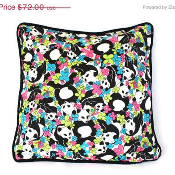 PANDA DESIGNER PILLOW Adorned with Neon Pandas Reverses to Soft Black Velvet-made with Bright Pink . Aqua . Green Dead Stock Vintage Fabric