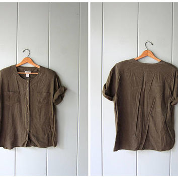 Minimal Silk Blouse Dark Army Green Brushed SILK Shirt Button Up Slouchy Raw Silk Top Short Sleeve Slouchy Shirt Modern Tee Womens Large