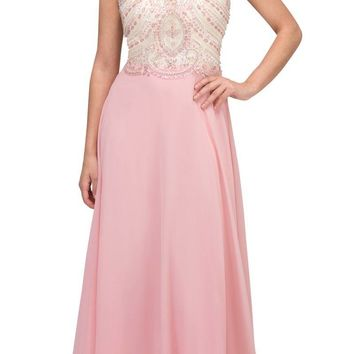 Blush A-line Long Prom Dress Illusion Beaded Neckline