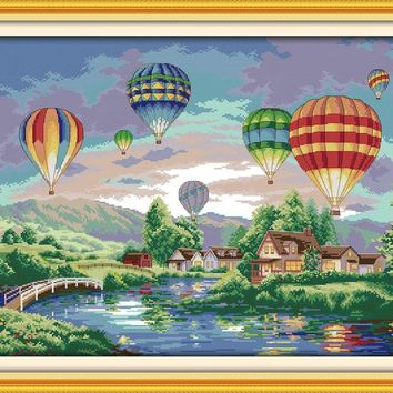 Cross Stitch Kit Colorful hot air  balloons and landscape F139