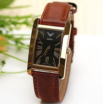 Men watch Luxury Original Quartz Watch Roman Numbers Leather Strap Rectangle Dial Watches women dress watch man