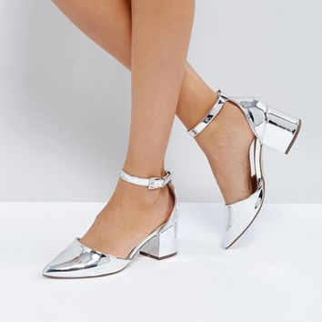 Call It Spring Trivio Silver Block Heeled Shoes at asos.com
