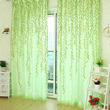 Rustic curtain window screening customize finished products balcony green pink for bedroom living room kitchen 1x2M