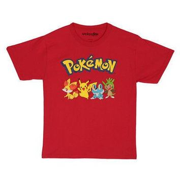 Pokemon Pals Fennekin Pikachu Froakie Chespin Licensed Kid's Youth T-Shirt - Red