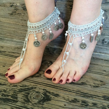 Boho Bridal Silver Gray Shiny Barefoot Sandals, Wedding Crochet Foot Jewelry, Silvery Gray Anklet, Metal Coins and Beads Shoes,Foot jewelry