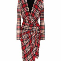 Plaid wool-blend dress